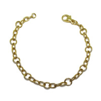 Never say Never jewelry. Yellow de 18 K gold chain bracelet with links and Rings 19.50cm and 4.45gr 18 gold K
