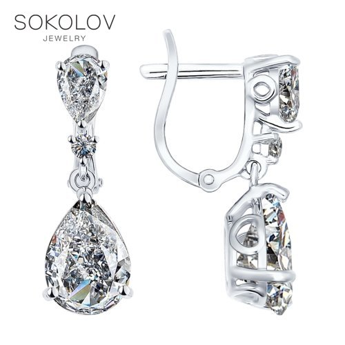 SOKOLOV Silver Drop Earrings With Stones With Cubic Zirconia Fashion Jewelry Silver 925 Women's Male, Long Earrings
