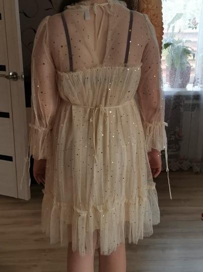 RUGOD New shiny women dress sequined transparent loose a line mesh patchwork elegant solid summer dress korean style kimono reviews №2 48480