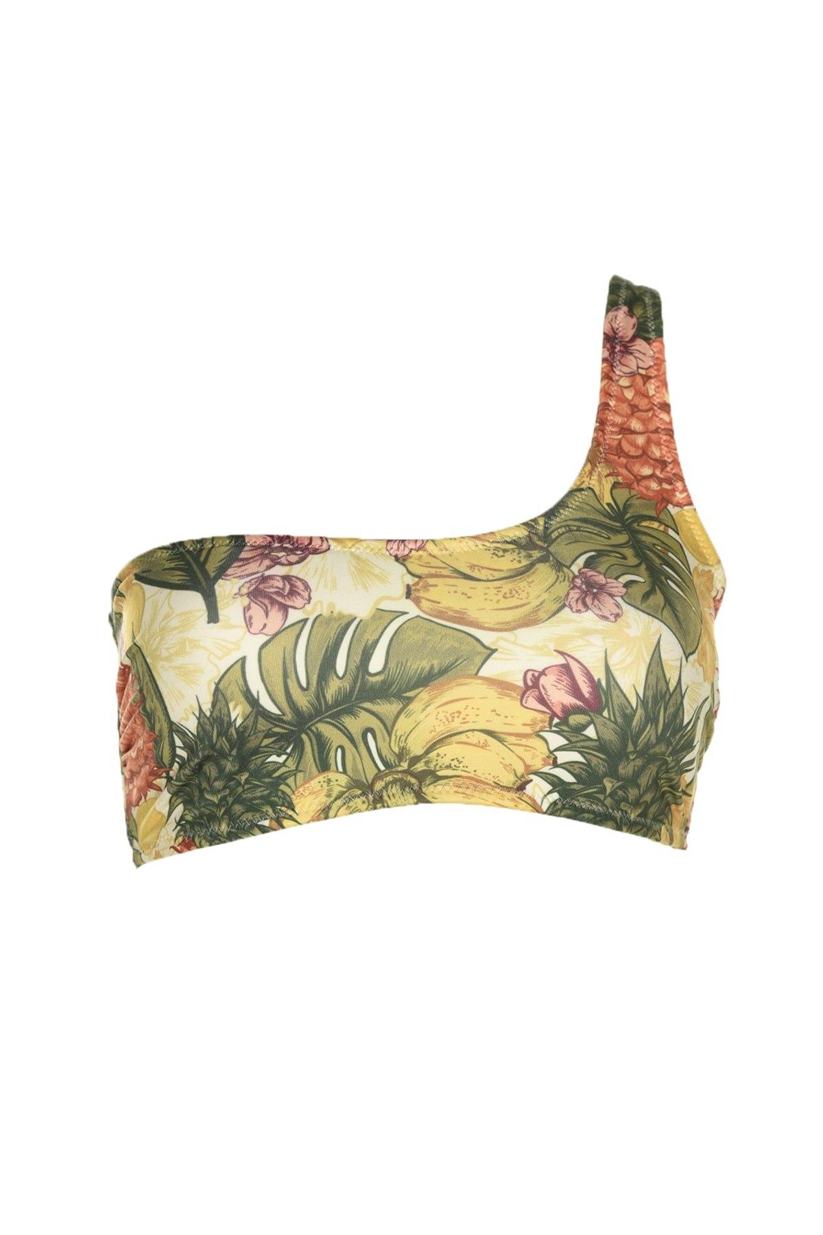 Trendyol Tropical Print One Shoulder Bikini Top TBESS20BU0113
