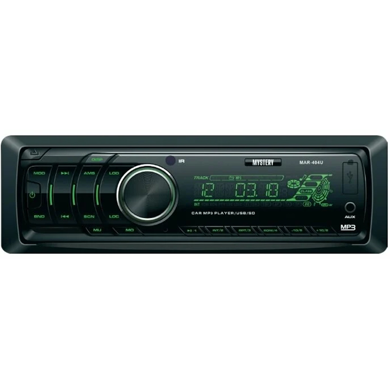 Car radio MYSTERY MAR-404U (4x50 w Amplifier, detachable panel Usb Port, green backlight, AUX in, 2 pairs lin. Output mystery mar 929u