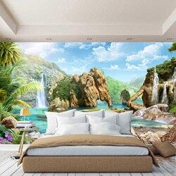Unusual ocean wall mural, waterfall, clouds, wallpaper, for Hall, kitchen, bedroom