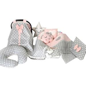 Jaju bebê babynest cinza estrela ortopédico ninho do bebê 10 peça conjunto de luxo berço cama do bebê conjunto de roupa do bebê berço conjunto