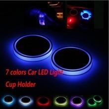 2X samochód podświetlany kubek LED uchwyt samochodowy wnętrze USB kolorowe nastrojowe światła lampa uchwyt na napoje Anti slipmata produkty samochodowe