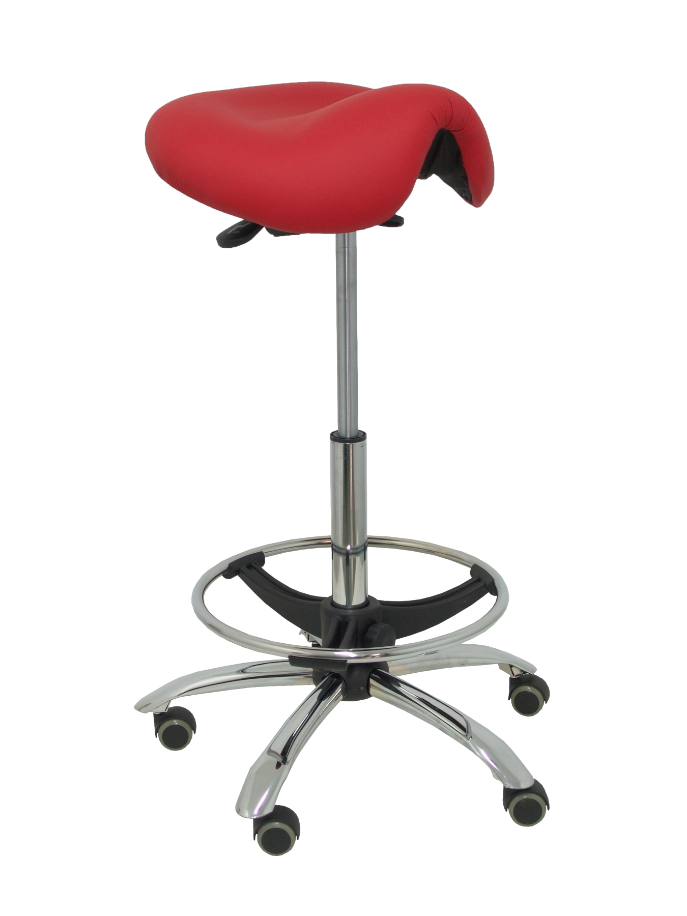 Stool Clinical Swivel And Ergonomic With Seat Anatomic And Dimmable In High Altitude (hoop Foot Pegs Chrome INCLUDED)