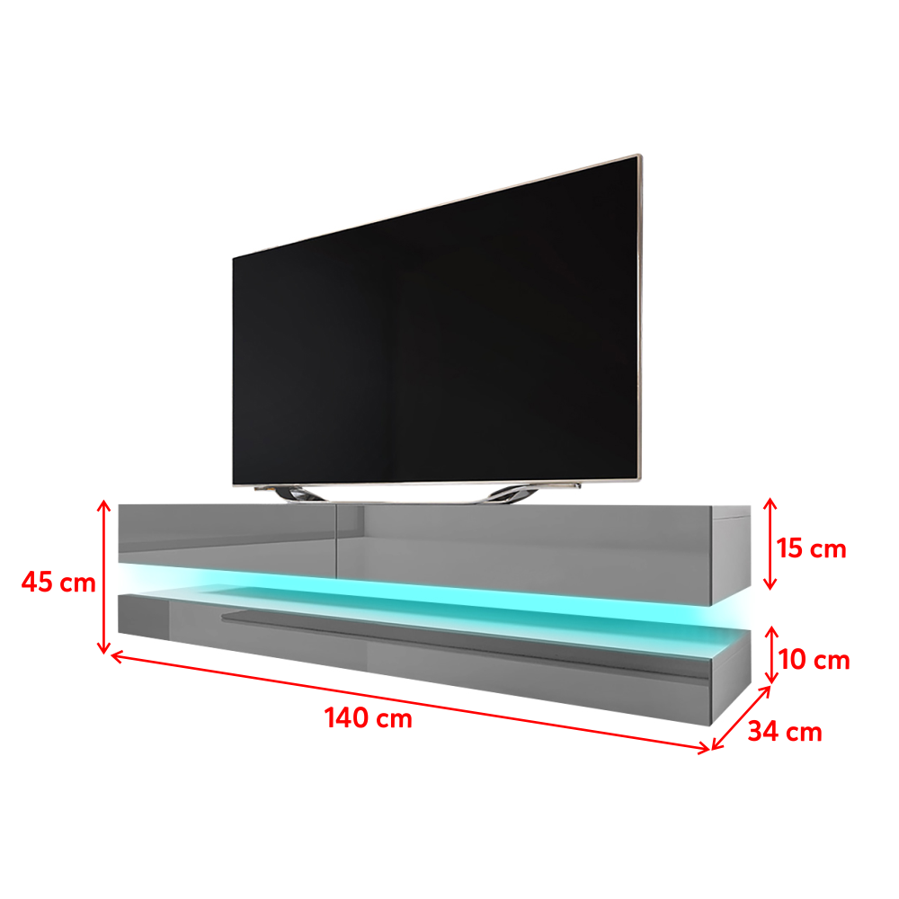 hylia meuble tv suspendu 140 cm blanc mat gris brillant avec led