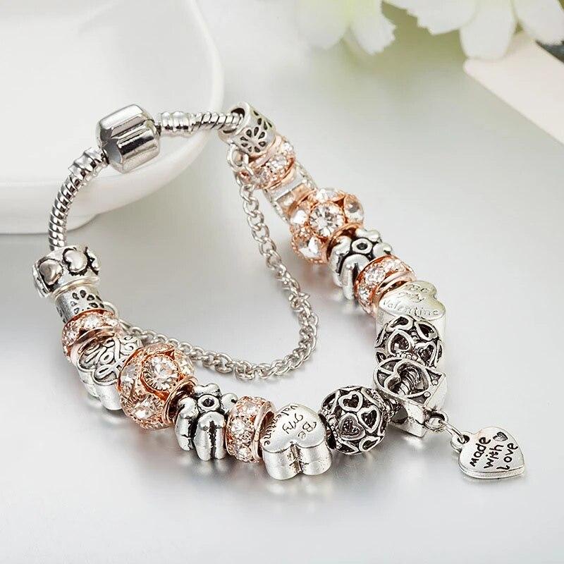 New Pandora Rose Gold And Diamond Love Bracelet Bracelets Bangles Aliexpress