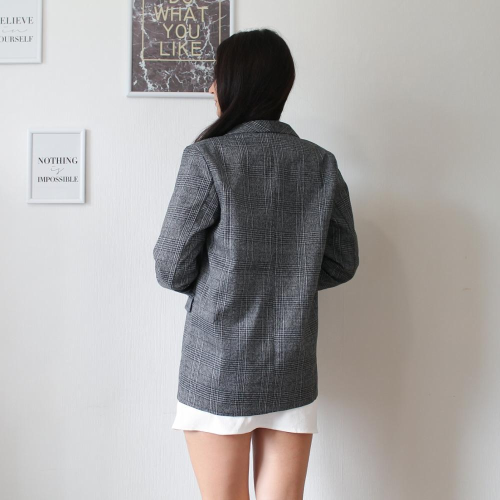 CBAFU autumn spring jacket women suit coats plaid outwear casual turn down collar office wear work runway jackets blazer N785 reviews №5 88697
