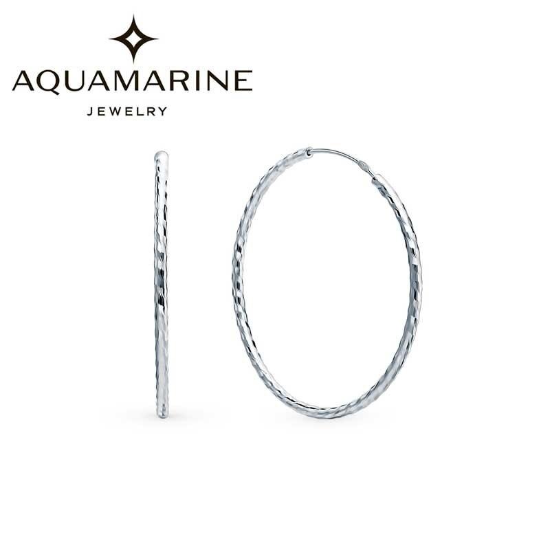 Серебряные серьги кольца конго Aquamarine 30914 S a Серьги-кольца      АлиЭкспресс