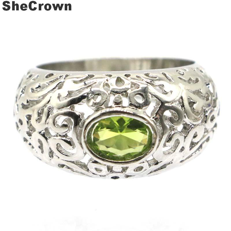 20x15mm Romantic Created Hollow Green Peridot Gift For Sister Party Silver Rings