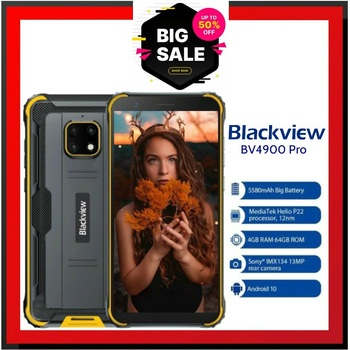 BV4900 Pro Mobile Phone IP68 Rugged Phone 4GB 64GB Octa Core Android 10 Waterproof Blackview 5580mAh NFC 5.7 inch 4G Cellphone