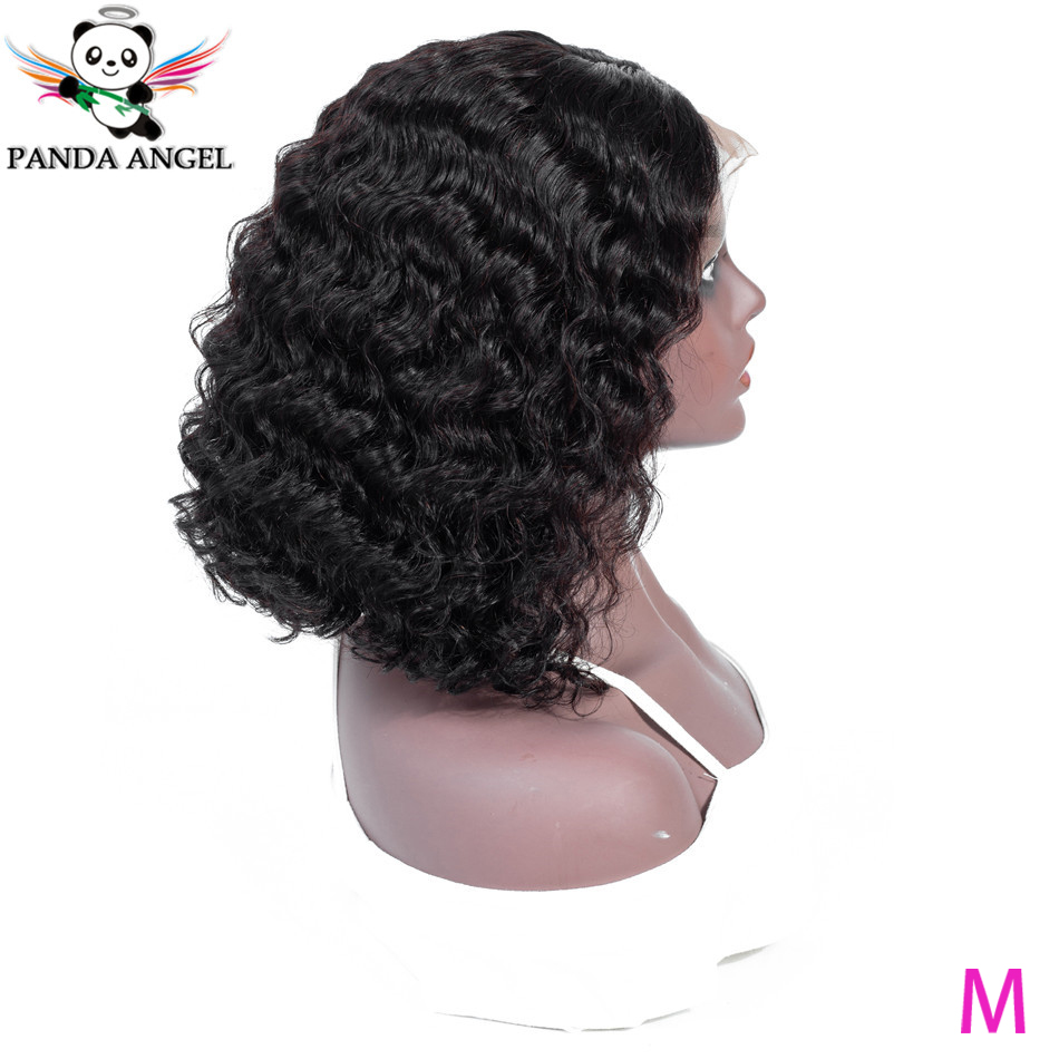Panda 13*4 Deep Wave Lace Front Human Hair Bob Wigs Peruvian Remy 150% Density Pre-Plucked Short Bob Lace Front Human Hair Wigs