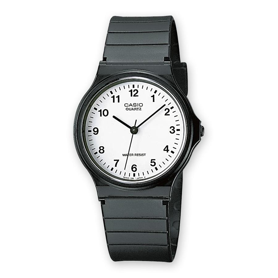 Casio Mens Ladies Casual Style White Dial Clock Bracelet Black MQ24-7BLL