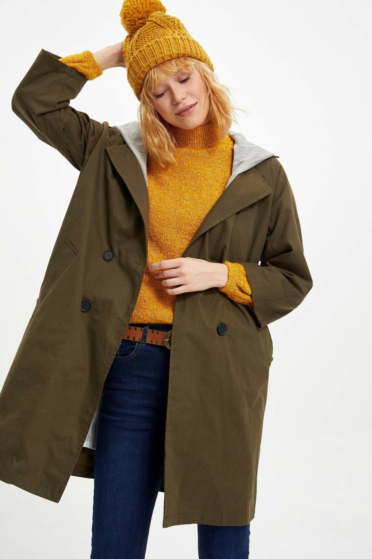DeFacto Woman Casual Hooded Light Parka Jackets Button Solid Pockets Overcoats For Women's Casual Jacket Ladies-K8454AZ19AU