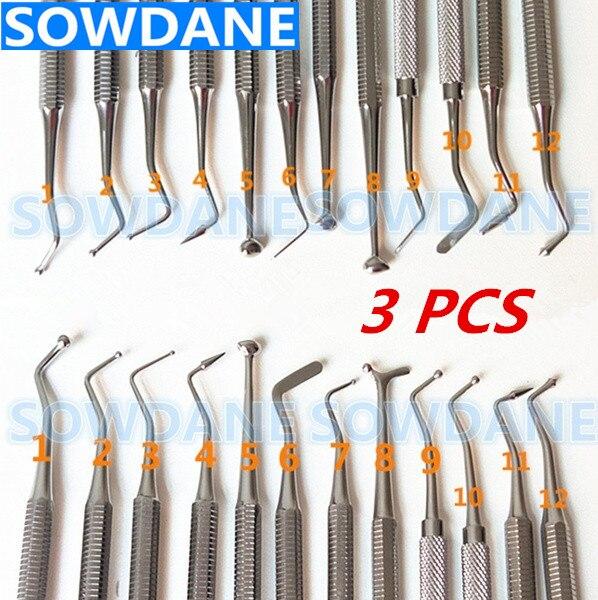 3 Pcs Composite Dental Composite Filling Tool Instrument Filler Spatula Amalgam Plastic Double Ends Stainless Steel Oral Care