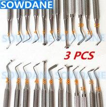 3 個コンポジット歯科複合充填ツール楽器フィラーへらアマルガムプラスチックダブル両端ステンレス鋼口腔ケア