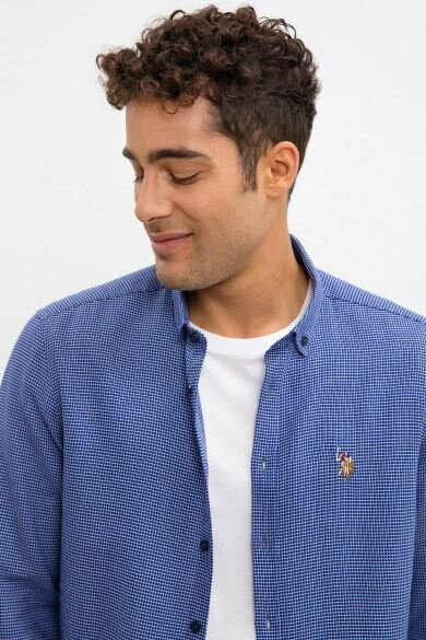 U.S. POLO ASSN. Navy Blue Dobby Slim Shirt