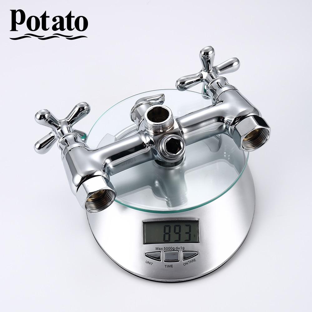 Картофель ванная смеситель длинный вода выход трубка смеситель кран ванна смеситель настенный установленный удерживаемый душ набор горячая и холодная вода p23321