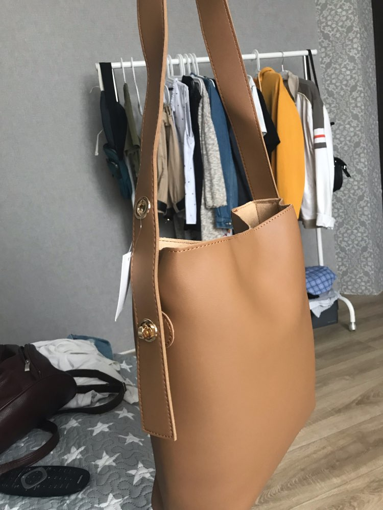 Fashion All Match Bucket Bag Simple Style Pu Leather One Shoulder Women'S Handbags  Female Bag Casual Xuew98 photo review