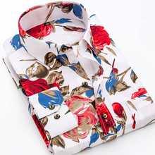 Chemise à manches longues pour hommes, nouvelle mode, imprimé Floral, doux et fin, coupe Standard, pour les vacances, le printemps et la fin