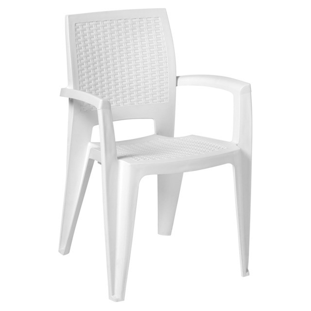 Armchair CAROL, Stackable, White Polypropylene