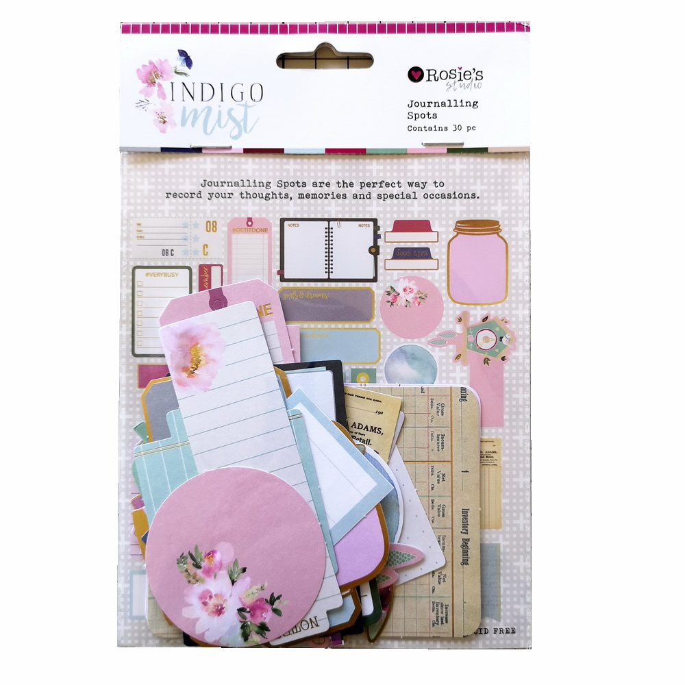 CRZCrafter 30pcs Printed Paper Diecuts Journaling Spots Foil Design For Scrapbooking Cardmaking Journal Embellishments