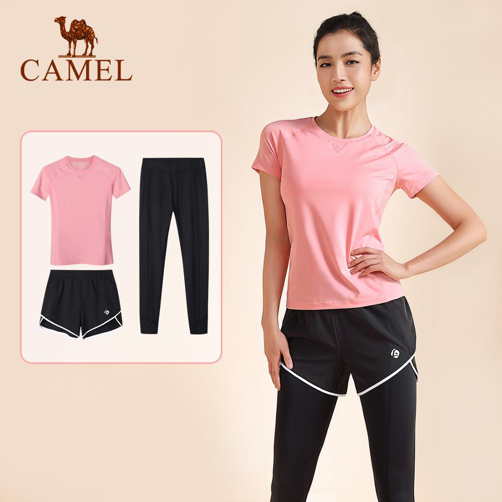 Camel Women's Yoga Suit Three Pics Women Tracksuit Suit Summer Sports Running Clothes T-shirt Pants Short Pants ?????? ????