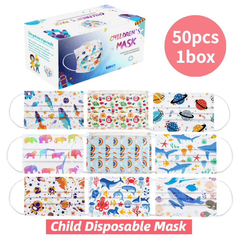 50pcs A Box Children's Cartoon Disposable Mask 3 Layer Child Kids Filter Hygiene Thicken Face Mouth Mask Earloop Fast Delievry