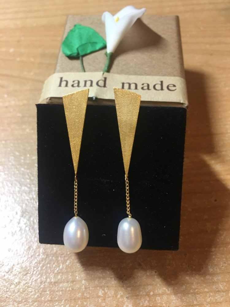Lotus Fun реальные стерлингового серебра 925 натуральный жемчуг ручной работы Fine Jewelry треугольник Water Drop Висячие серьги для женщин