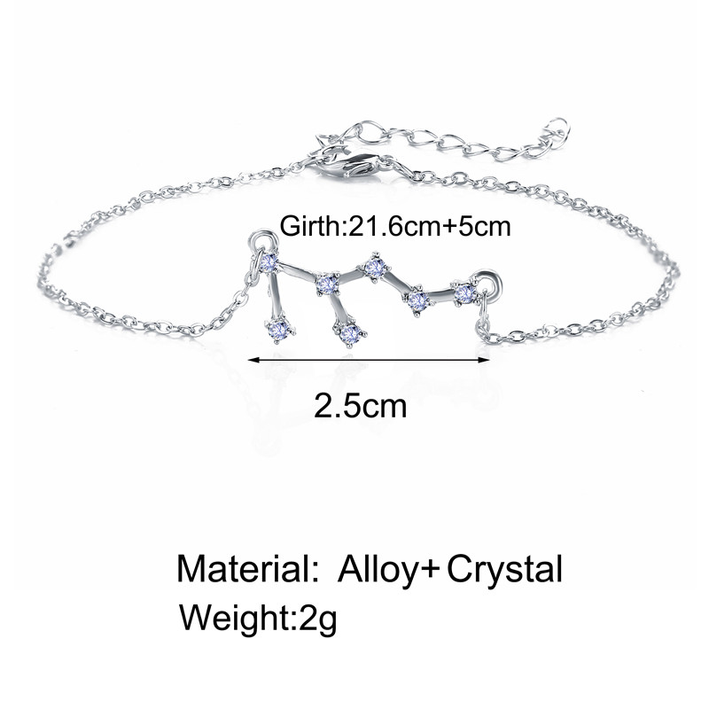 Fashion Gold Color Chain Crystal Zodiac Sign Anklet for Women Constellation Ankle Bracelet Leg Foot Jewelry Friendship Gift