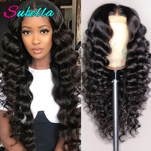 Subella HD Transparent Lace Wig Brazilian Loose Deep Wave Wig For Women Lace Front Human Hair Wigs Pre Plucked With Baby Hair(China)