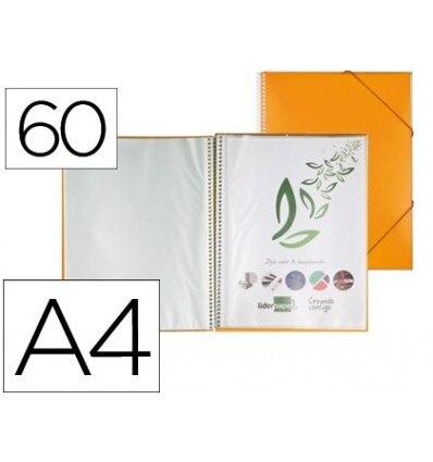 WALLET LEADERPAPER SHOWCASE WITH SPIRAL 60 CASES POLYPROPYLENE DIN A4 ORANGE