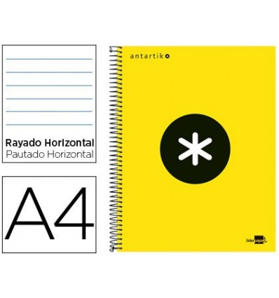 SPIRAL NOTEBOOK LEADERPAPER A4 MICRO ANTARTIK LINED TOP 120H 100 GR HORIZONTAL 5 BANDS 4 HOLES YELLOW F F