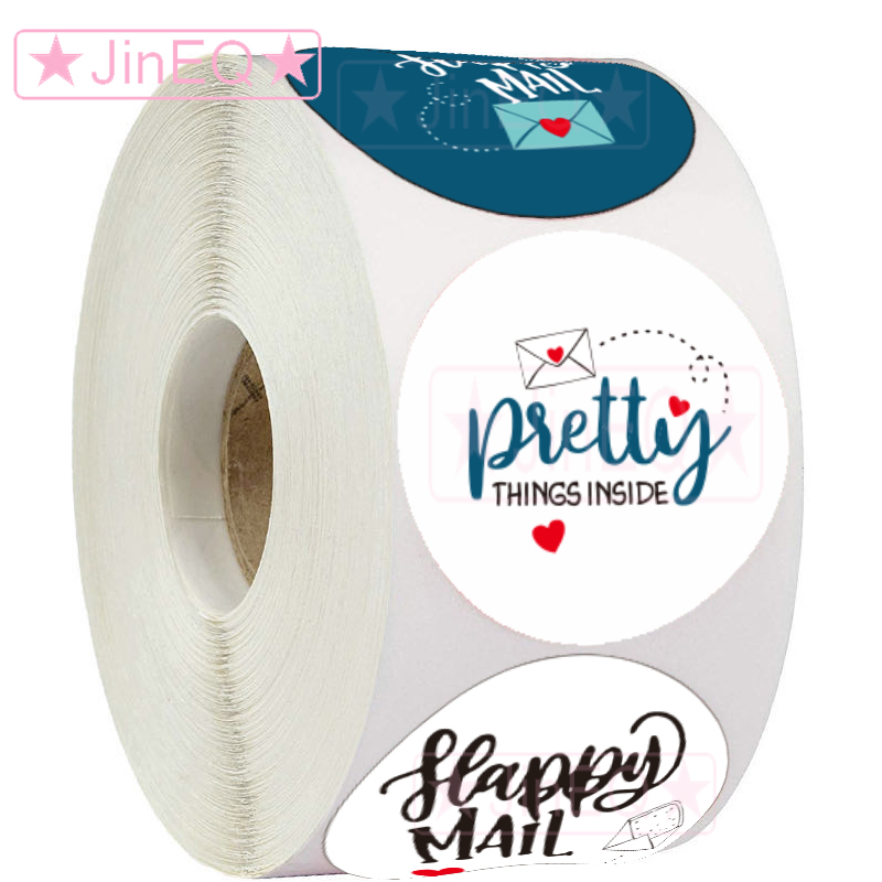 500pcs White Happy Mail Stickers 1'' Circle Seal Labels for Thank You Cards Business Packaging Prett