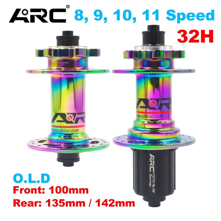 ARC красочные велосипедные ступицы покрытие Радуга mtb горный велосипед концентратор 32H для 8 9 10 11 скорость 100 135 142 мм передние и задние дисковы...