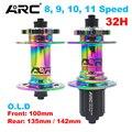 Разноцветные велосипедные ступицы ARC, радужная ступица для горного велосипеда 32H для 8 9 10 11 скоростей 100 135 142 мм, передняя и задняя дисковая ст...