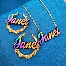 Rainbow Color Name Customizable Earring Dangle Bamboo Earring
