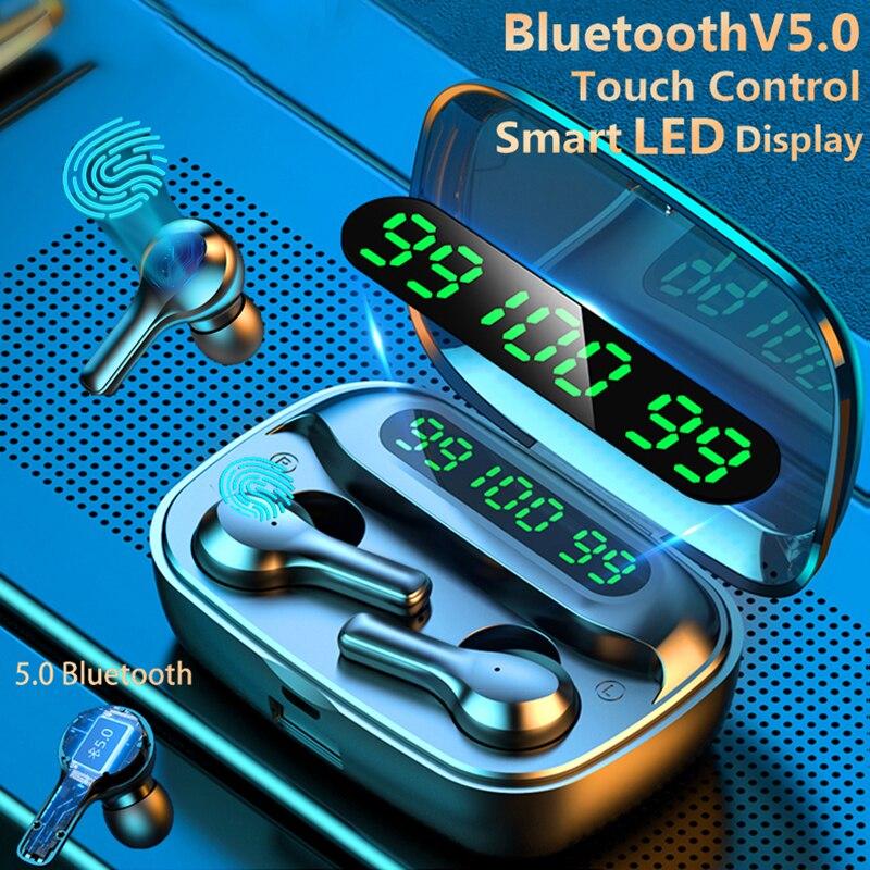 Fones de ouvido inteligentes sem fio, touch, bluetooth v5.0, com microfone, esportivo, à prova d água, stereo, redução de ruídos