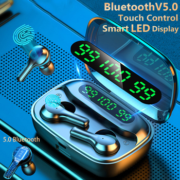 Smart Touch Bluetooth V5.0 Earphones Wireless Headphones With Microphone Sports Waterproof HIFI Stereo Noise Cancelling Headset elekele active noise cancelling wireless bluetooth headphones wireless headset with microphone for phones