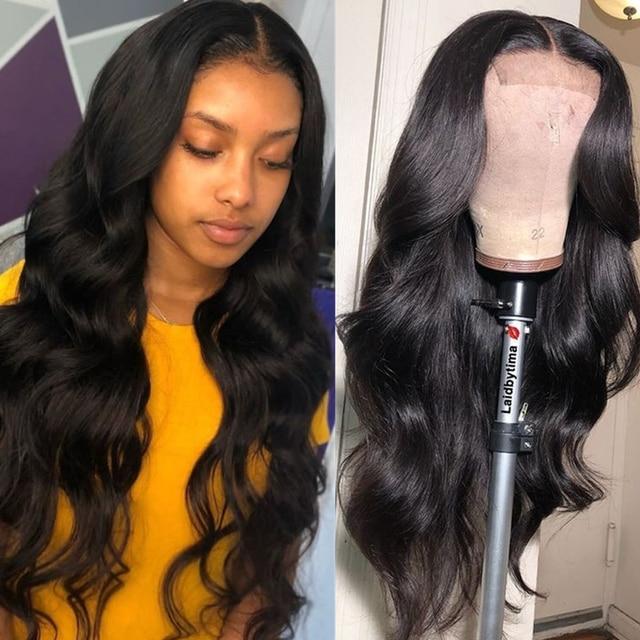 13x6 głębokie część koronki przodu peruki z ludzkich włosów prosto włosów 150% gęstości brazylijski Remy peruki z ludzkich włosów Pre -oskubane naturalną linię włosów
