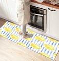 Else синие линии Желтые лимоны 3d принт нескользящие микрофибры Кухня Счетчик современный декоративный моющийся коврик