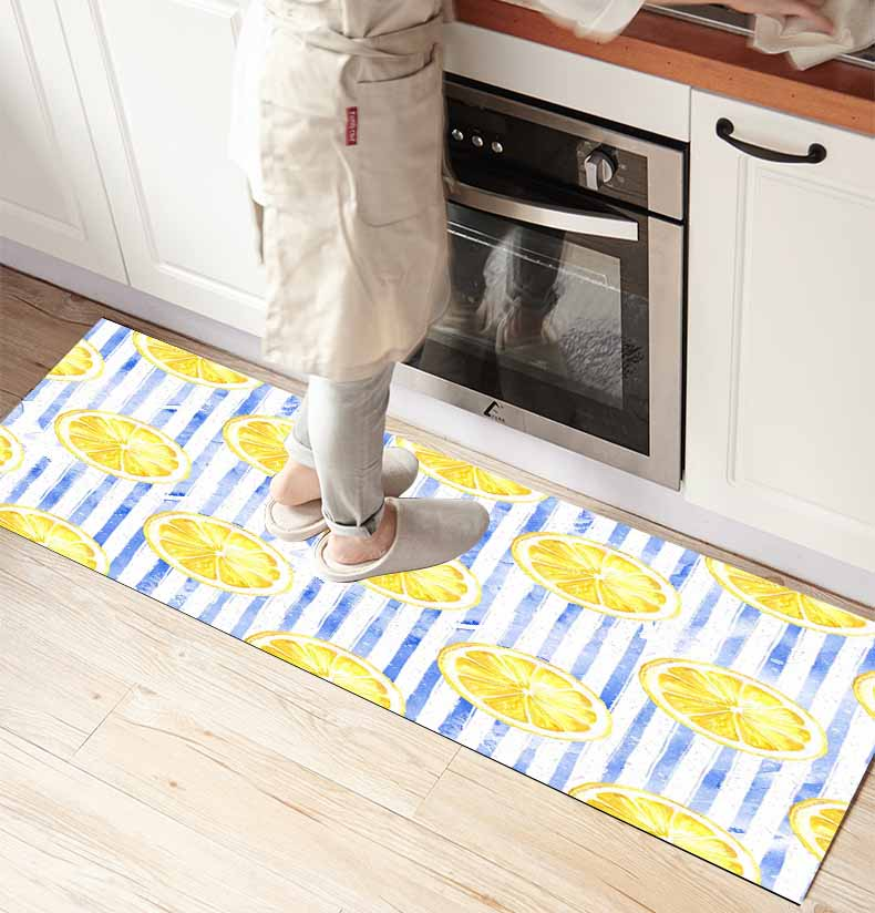 Else Blue Lines Yellow Lemons 3d Print Non Slip Microfiber Kitchen Counter Modern Decorative Washable Area Rug Mat