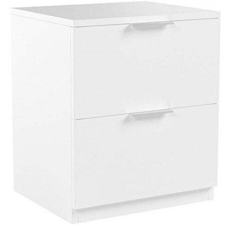 Mesa de cabeceira 2 gavetas de carvalho ou branco