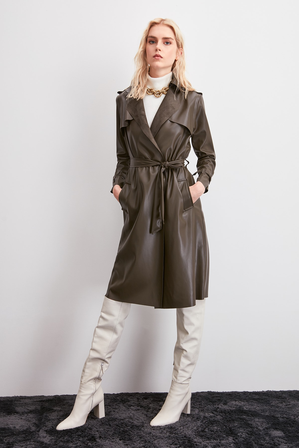 Trendyol Arched Faux Leather Trench Coat TWOAW20TR0027
