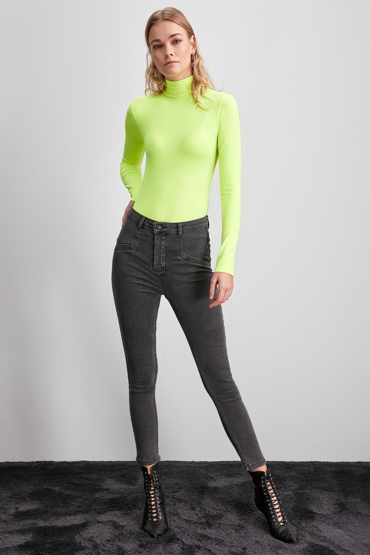 Trendyol Stitch Detail High Waist Jegging Jeans TWOAW20JE0305