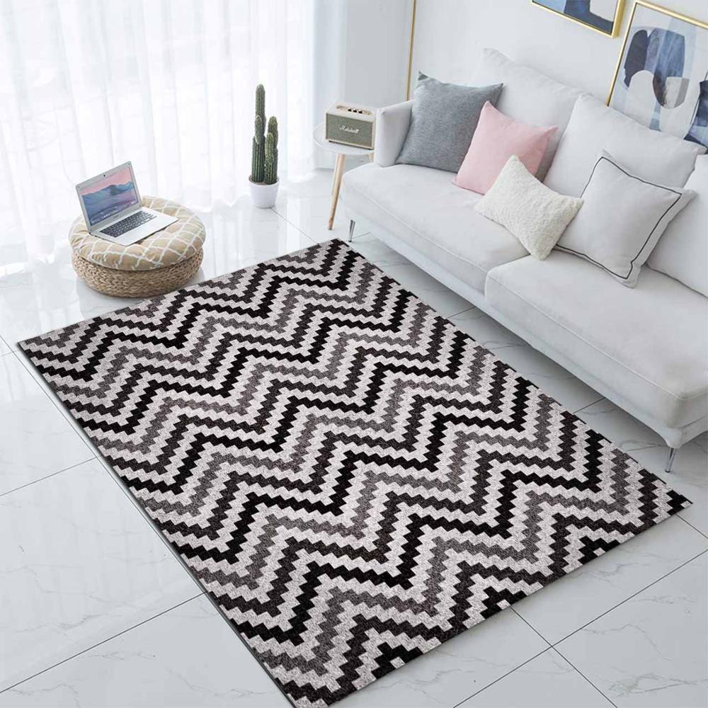 Else Black Gray Zigzag Geometric Nordec 3d Print Non Slip Microfiber Living Room Modern Carpet Washable Area Rug Mat
