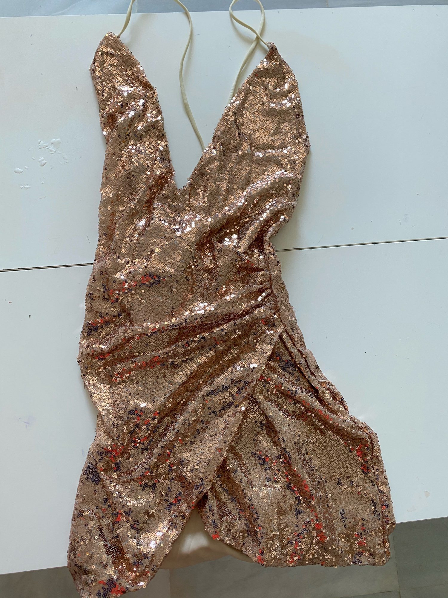 Sexy Women Sequins Glitter Sparkle Deep V Neck Halter Backless Bodycon Short Mini Dress Evening Party Wrap Hip Package Dress reviews №1 941895