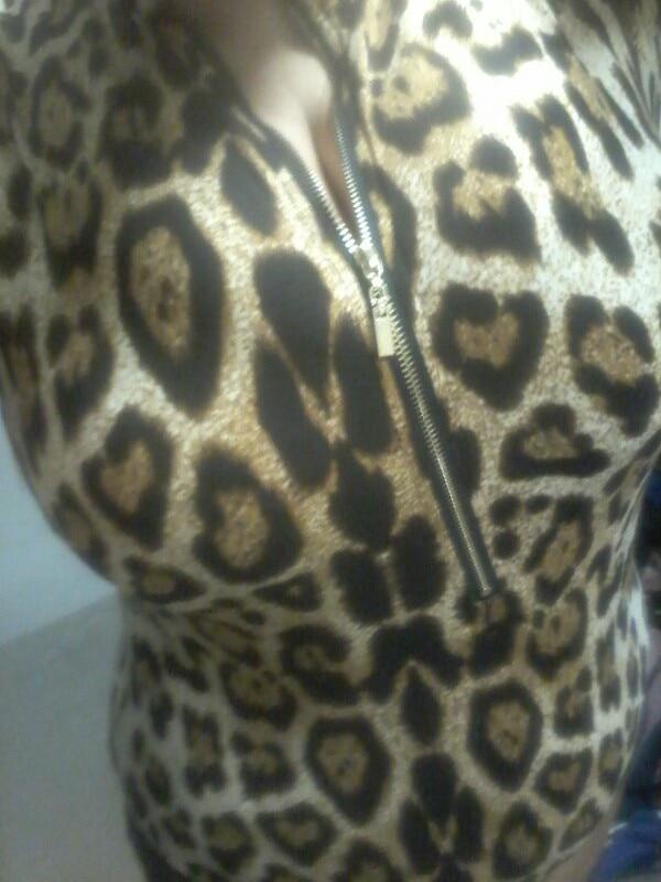 Wild Leopard Print Short Sleeve Bodysuit With Zipper Women Sexy Cheetah Bodycon Jumpsuits Female Fierce Body Tops photo review