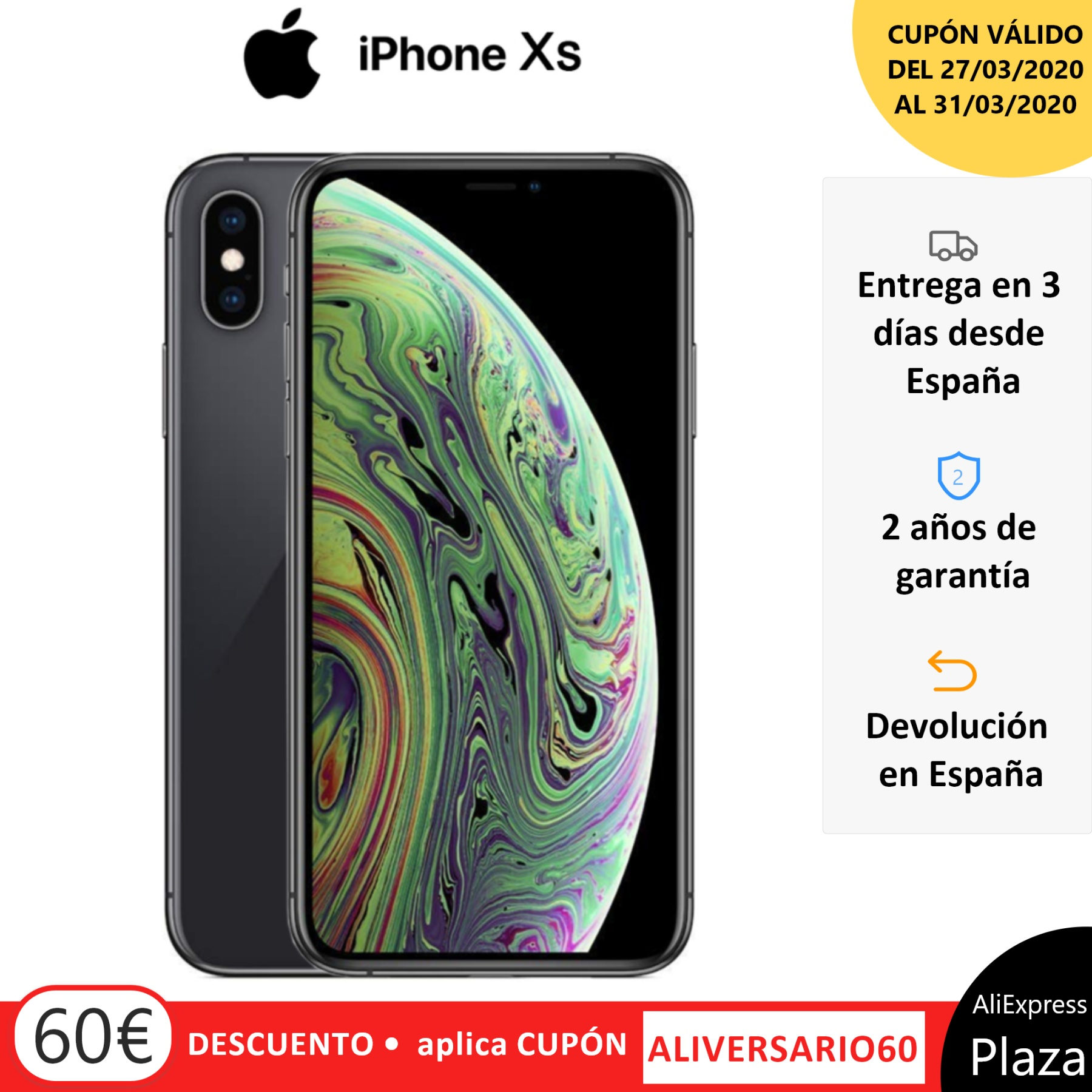 Apple iPhone Xs, Color Grey (Greys), EU Version. Band 4G/LTE/Wi-Fi, 6 internal 4GB de Memoria, 4GB Ram, Screen
