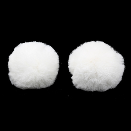 Pompon Made Of Artificial Fur (rabbit), D-8cm, 2 Pcs/pack (L Snow White)